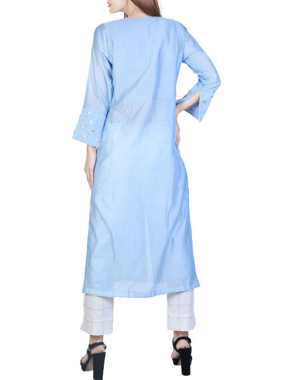Jade blue tunic with checkered pants 1
