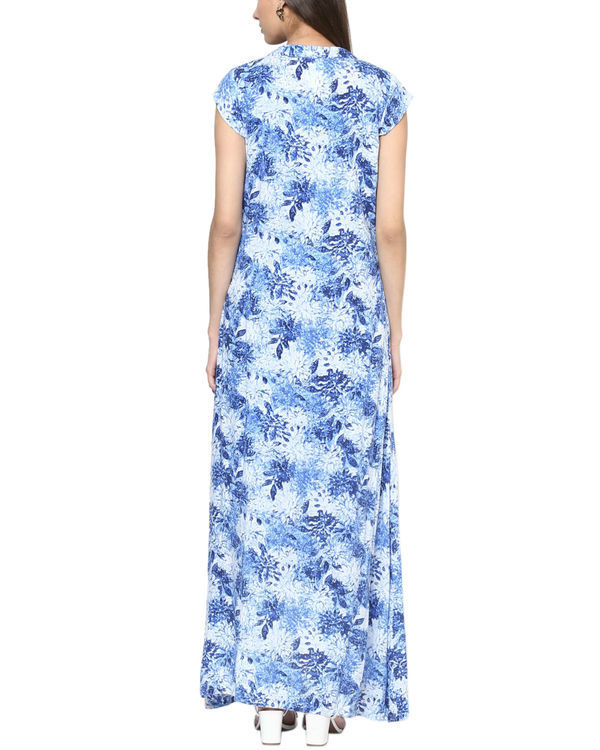 Blue floral jacket with dress 1