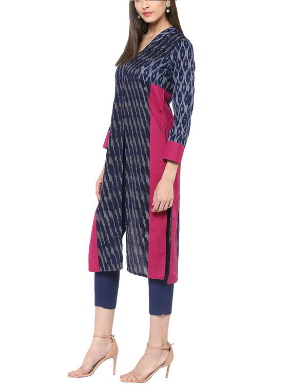 Blue ikat kurta with front slit 1