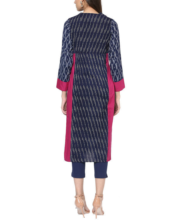 Blue ikat kurta with front slit 2