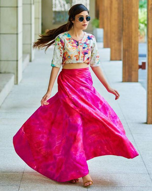 Pink floral ghaghra set 1