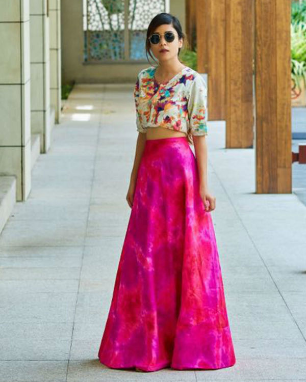 Pink floral ghaghra set 2