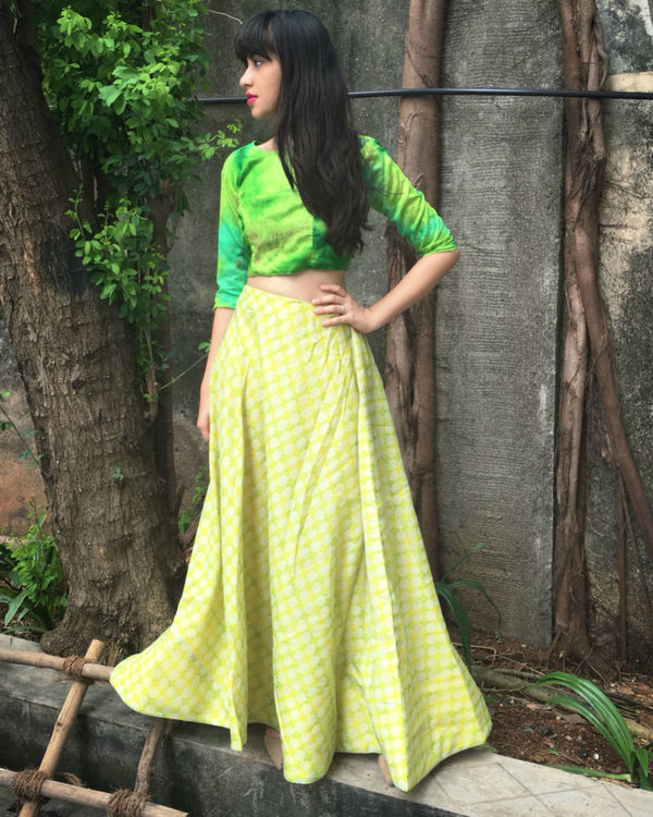 Green checkered ghaghra set 1