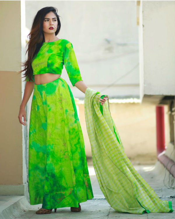 Green ghaghra set with dupatta 2