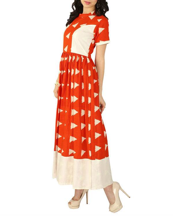 Orange block dress 1