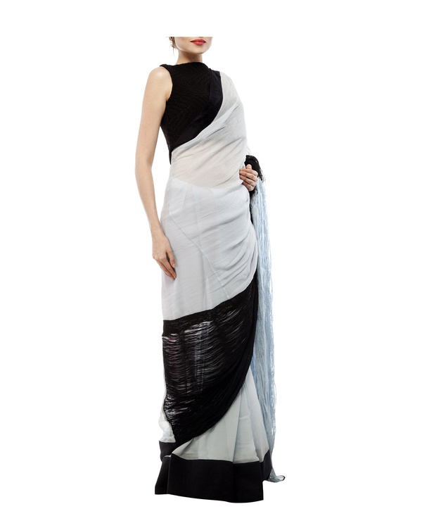 Black & blue chiffon cord saree 3