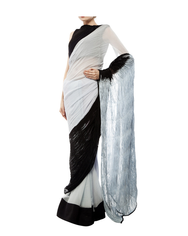 Black & blue chiffon cord saree 4