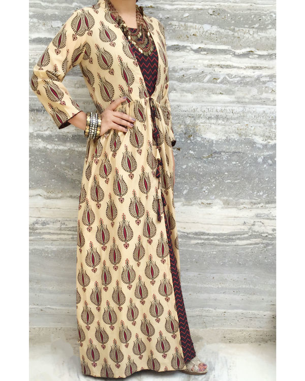 Brown gypsy dress with coverup 1