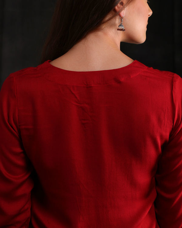 Wine Red Rayon Embellished Kurta 1