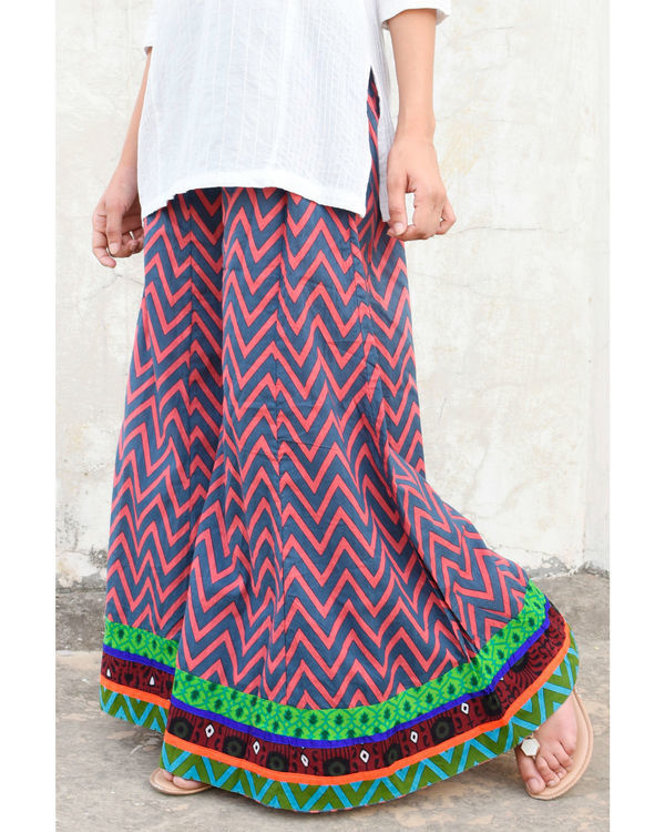 Pink and grey chevron sharara 1