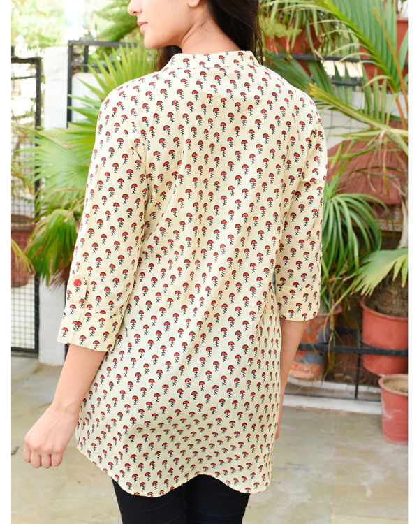 Beige and red buti tunic 1