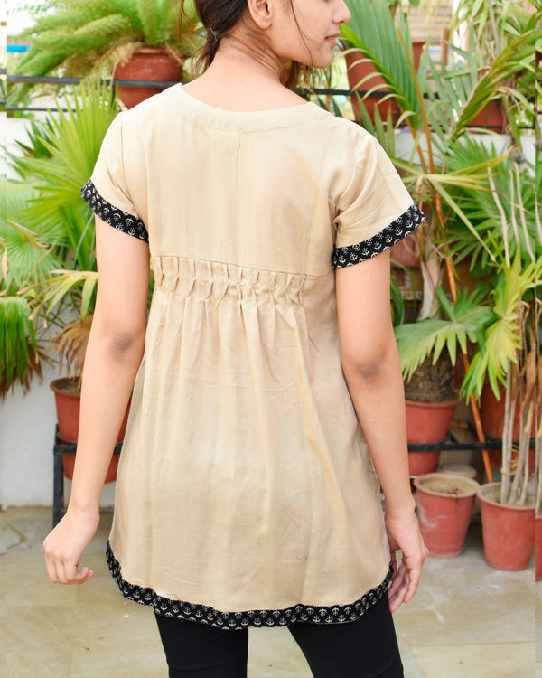 Beige gathered tunic 1