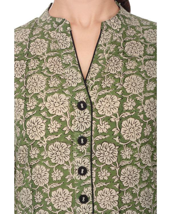 Kalamkari fern green floral jaal kurta 3