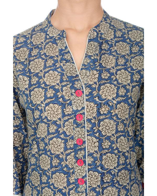 Kalamkari summer blue floral jaal kurta 3