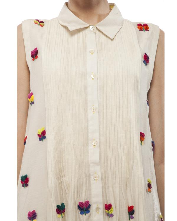 3d floral applique shirt dress 1