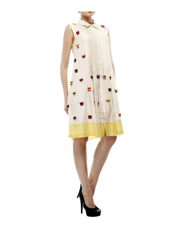 3d floral applique shirt dress 3