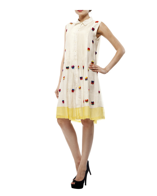 3d floral applique shirt dress 4