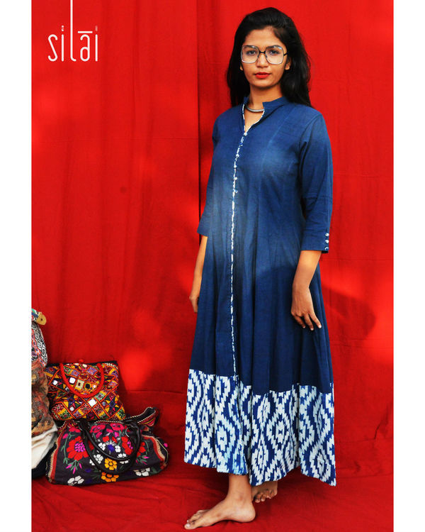 Indigo kalidaar with printed border 1