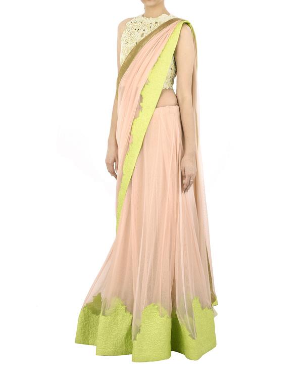 Pink net sari 1