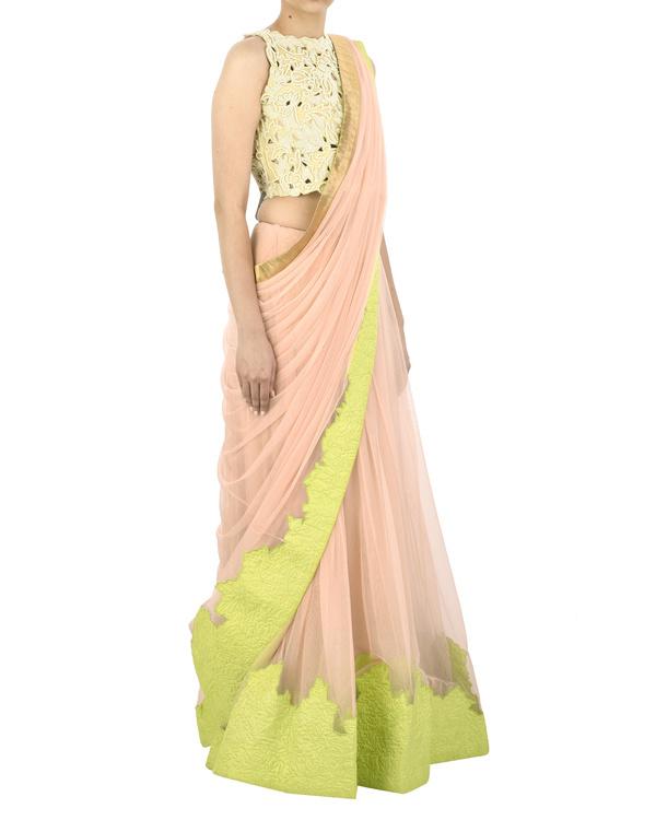 Pink net sari 2