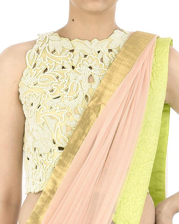 Pink net sari 4