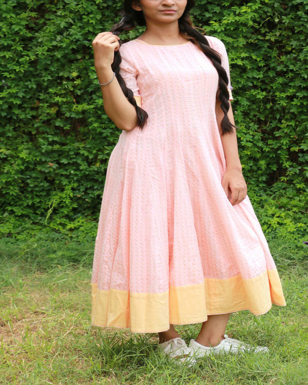 Peach yellow anarkali 1