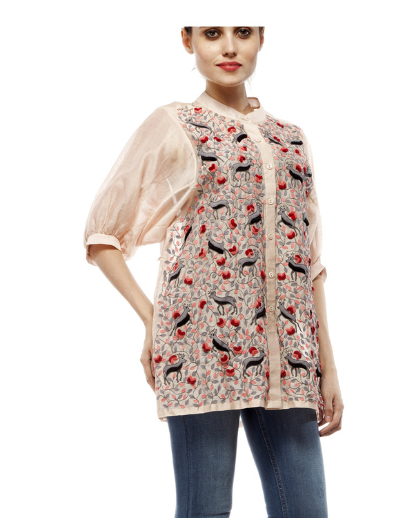 Cotton silk applique shirt 3