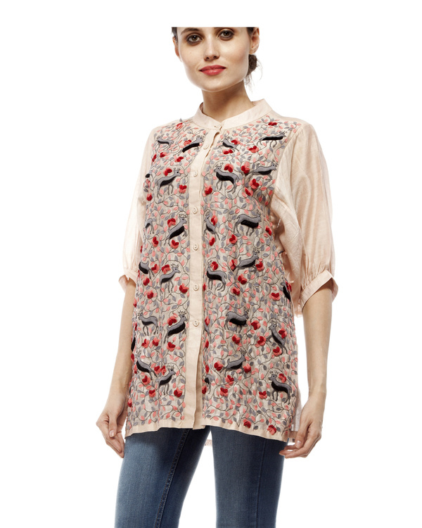Cotton silk applique shirt 4