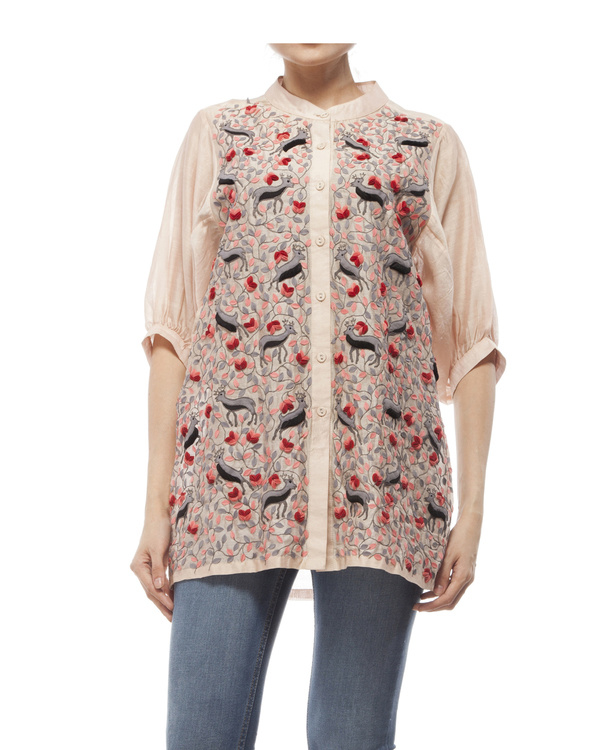 Cotton silk applique shirt 5