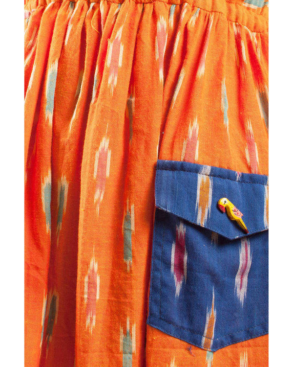 Tangerine ikat dress 1