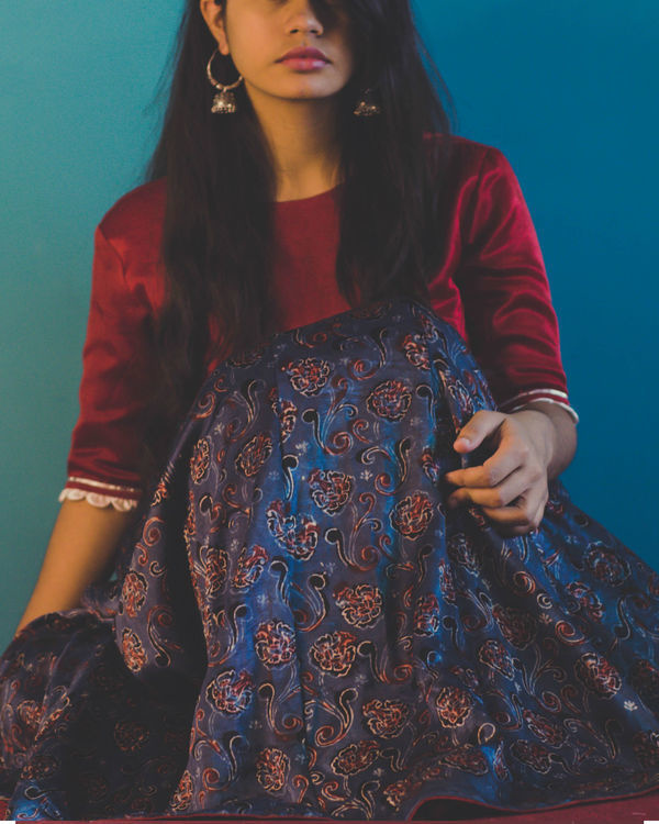 Maroon silk blouse lehenga set with dupatta 1