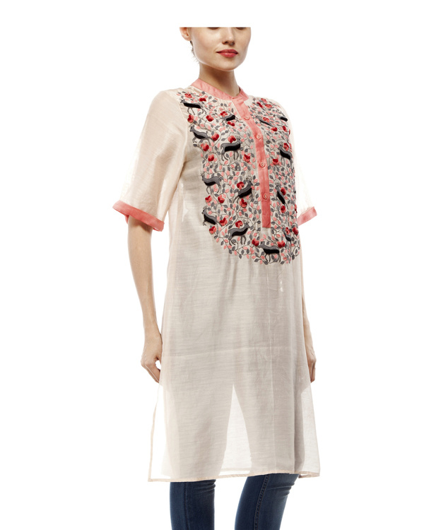 Cotton silk applique tunic 3