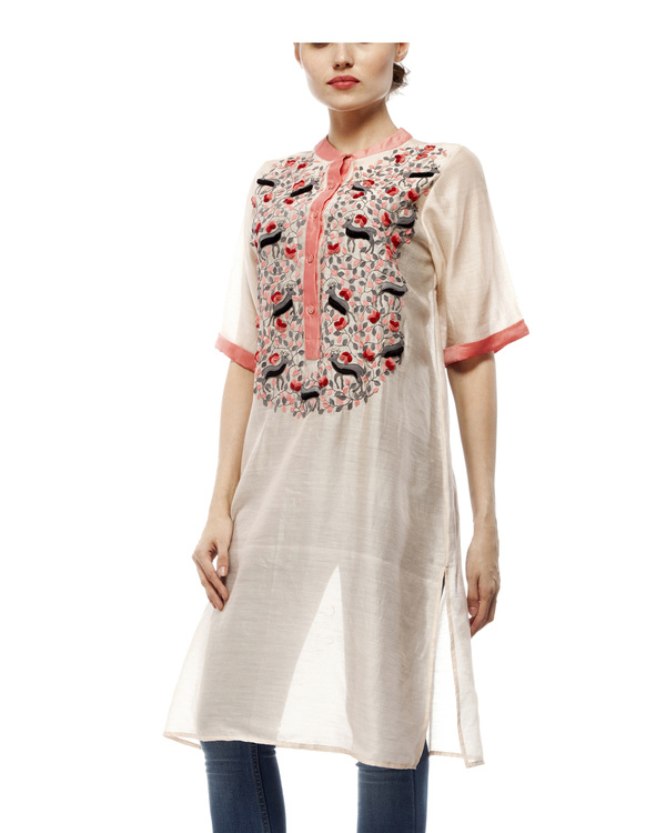 Cotton silk applique tunic 4
