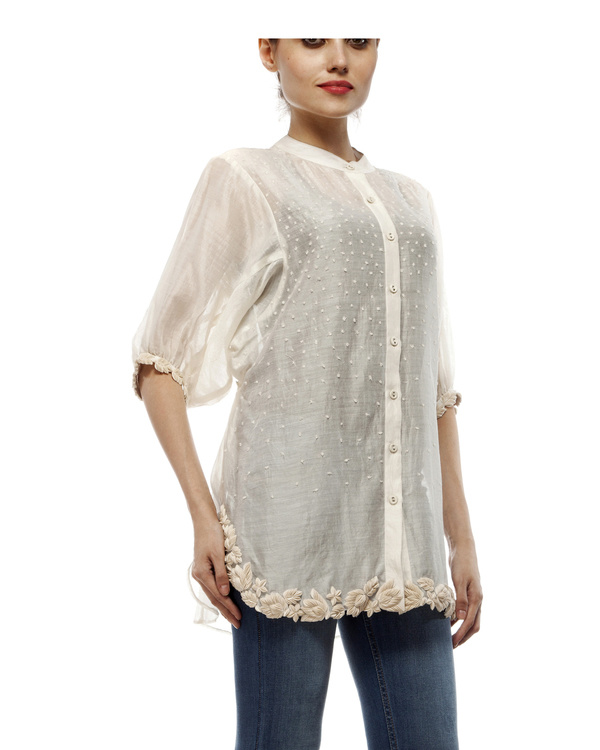 Cotton silk cut work shirt 3