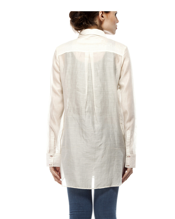 Off white cotton silk shirt 2