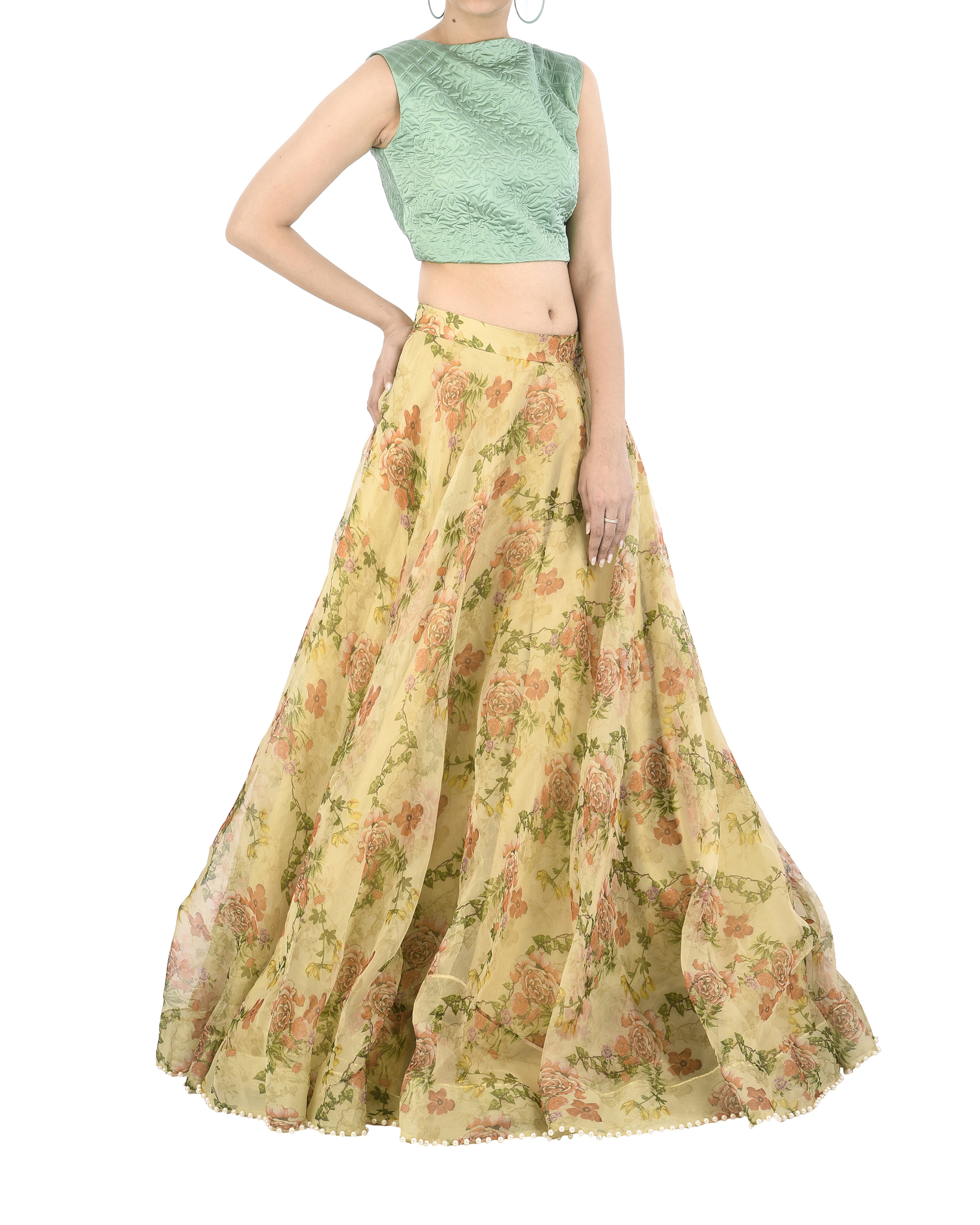 828f6c3a7d Floral organza lehenga skirt by Archana Rao | The Secret Label