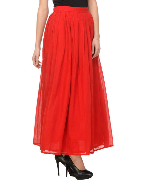 Red pleated skirt 1