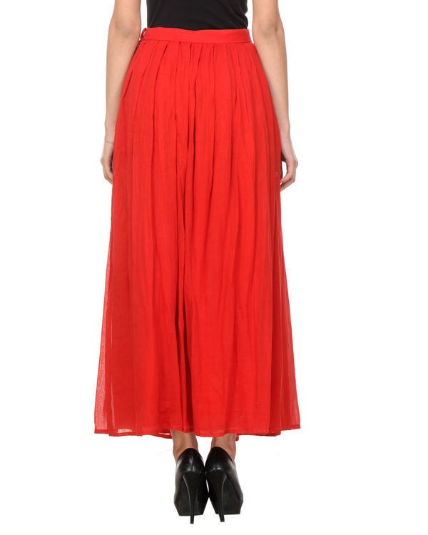 Red pleated skirt 2
