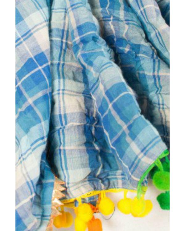 Blue checkered scarf 1
