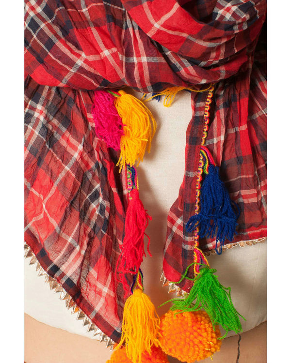 Red checkered scarf 1