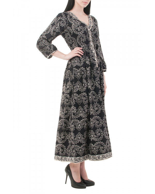 Black hand block printed dress 1