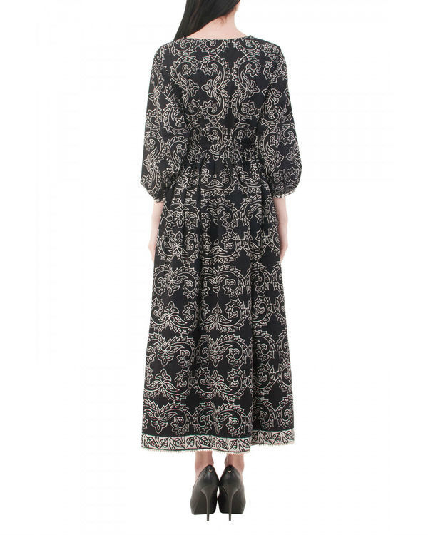 Black hand block printed dress 2