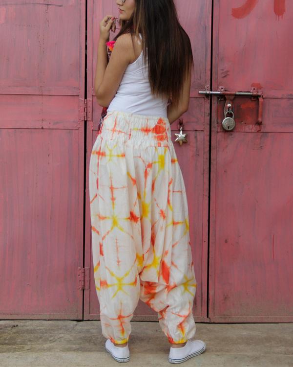 Orange shibori harem pants 1