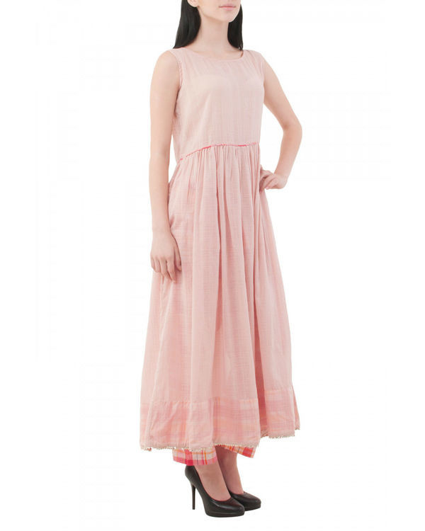 Pale pink long kurta with pants 1