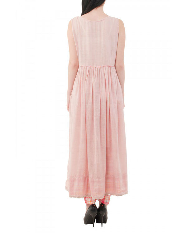 Pale pink long kurta with pants 2