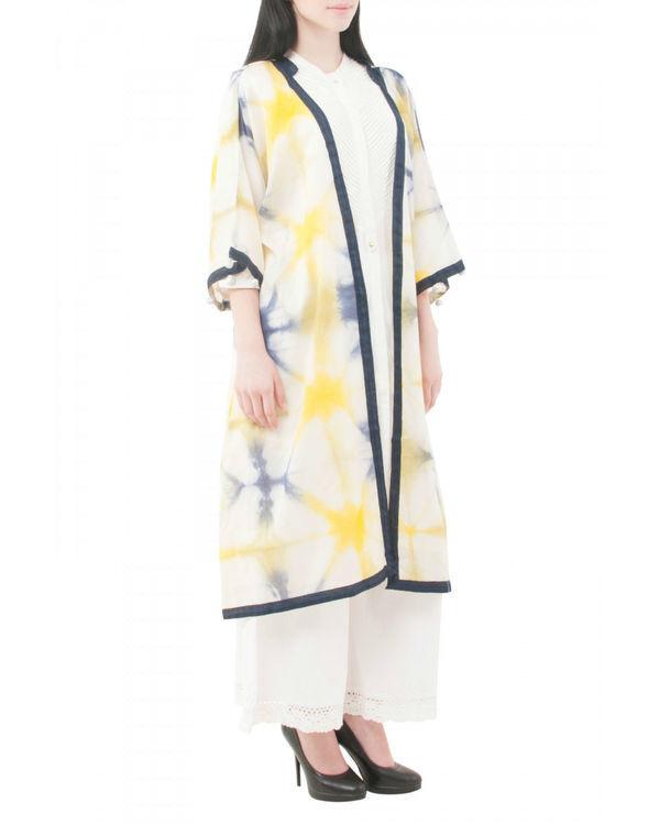 Yellow shibori coverup jacket 1