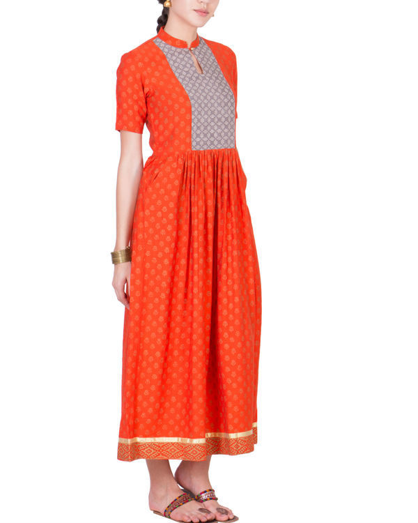 Orange yoke dress 1
