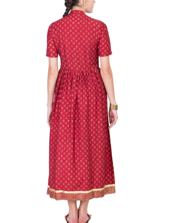 Maroon yoke dress 2
