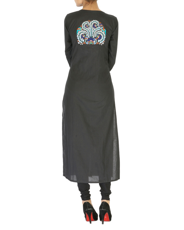 Embroidered black kurta 1