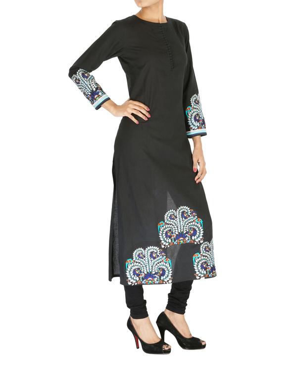 Embroidered black kurta 2